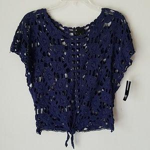 New! Navy Crochet Summer Top